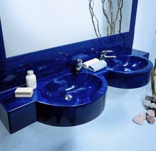 Lavabo Marlux blu a due vasche