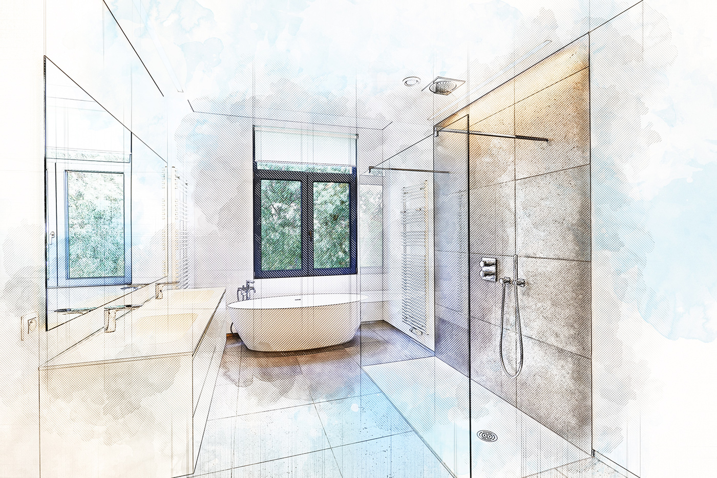 progetto di bagno con materiali e prodotti Marlux